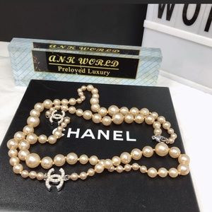Authentic CHANEL CC Logo logo pearl Long necklace